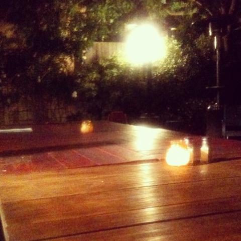 eating dinner outside