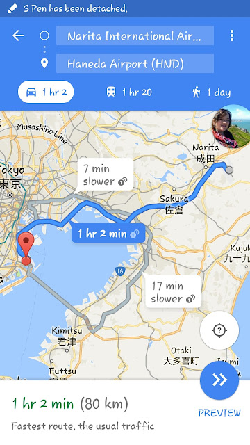 Distance from Narita to Haneda