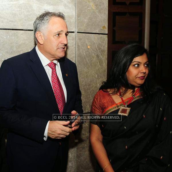 Antony Page(General Manager JW Marriott New Delhi Aerocity)and Ananya Sinha(Director of Sales and Marketing JW Marriott New Delhi Aerocity)at designer Shantanu and Nikhil Mehra's Autumn Winter Couture pre and post-show party, hosted at the JW Marriott Hotel New Delhi Aerocity.
