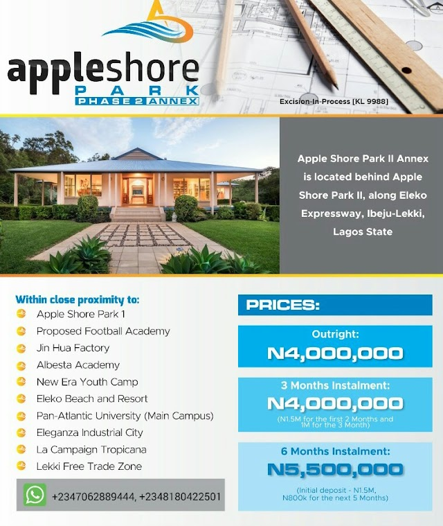APPLE SHORE PARK 2 ANNEX, IBEJU LEKKI, LAGOS (LAND FOR SALE)