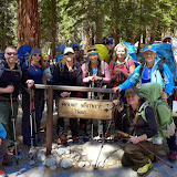 Shelli, posing with her men and women Epic Life clients at the start of a Mt. Whitney expedition. Also photographed are epic guides from Sierra Mountaineering International.