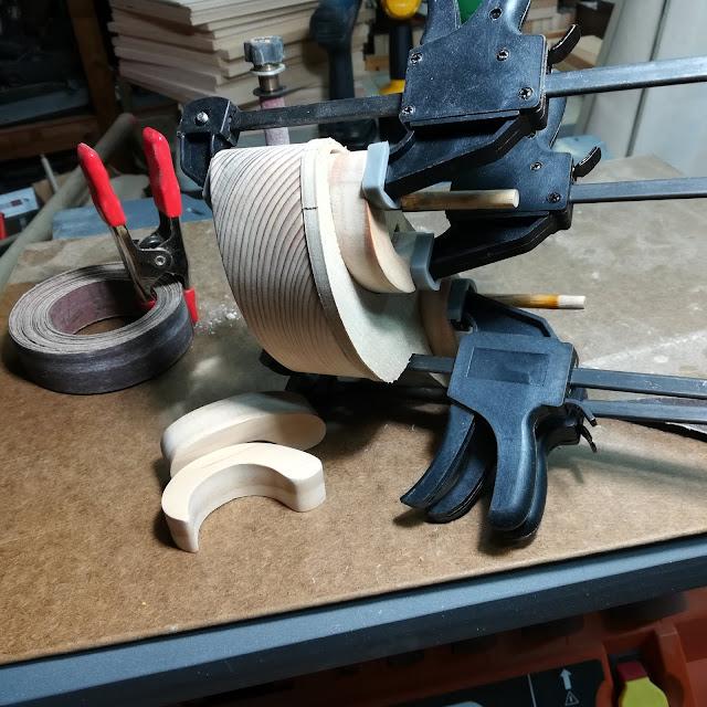 Handmade Wood Toy Car Torpedo Fenders Glued And Clamped