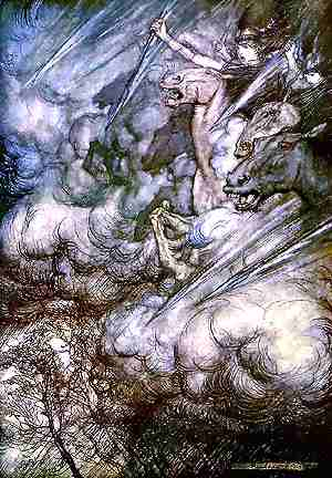 Valkyries Riding The Storm, Asatru Gods And Heroes