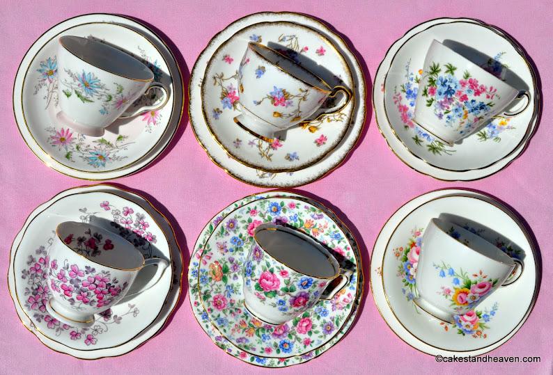 Vintage Mismatched Tea Set Summer Days Trios