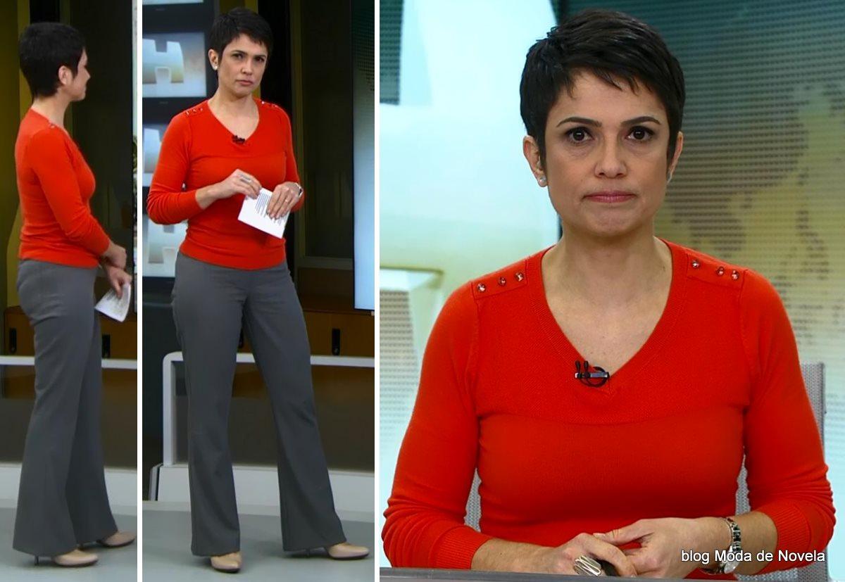 moda do programa Jornal Hoje - look da Sandra Annenberg dia 17 de julho