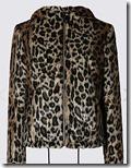 Per Una Faux Fur Short Zipped Jacket with Hood