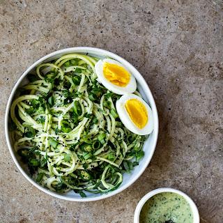 Zucchini Noodles with Green Chile Miso Pesto.