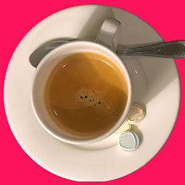 Coffee on vibrant pink background by Annalie Coetzer - Food & Drink Alcohol & Drinks ( white cup, food, drink, coffee, pink, vibrant )