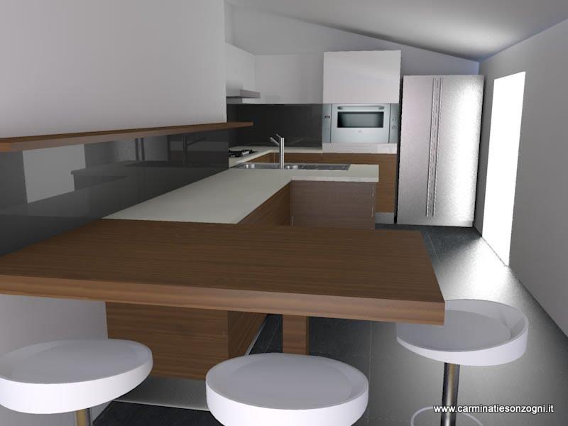 Progettazione arredamento con rendering 3dcarminati e sonzogni - Cucine con frigo a vista ...