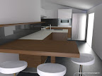 progettazione rendering di una cucina Valcucine - variante con legno noce e frigo Side by Side da accosto