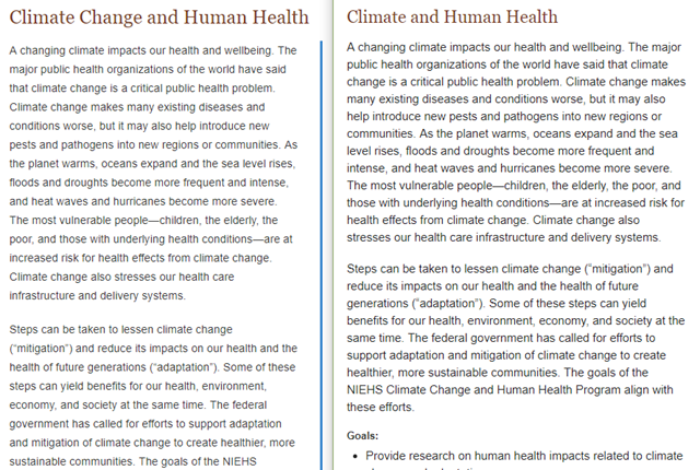 Before-and-after comnparison of the NIH site on 'Climate Change and Human Health', after the Trump administration scrubbed references to 'climate change'. Graphic: NIH