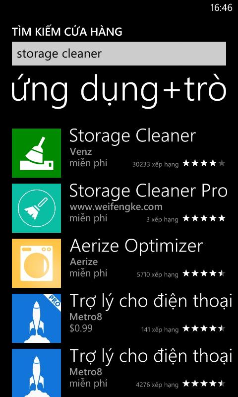 Tìm phần mềm xóa rác Storage Cleaner trong cửa hàng ứng dụng trò chơi