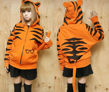 Hitam, Oranye,Tiger Jumper, fleece cotton, Hoodie, hoodie korea murah, korea, murah, warna, Pre Order, fashion korea, hoodie lucu