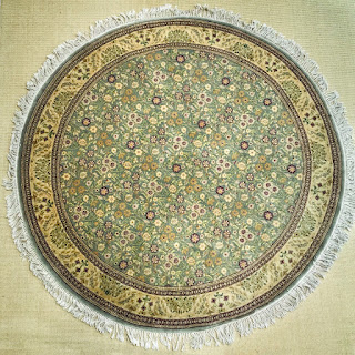 Wool Floral Round Area Rug