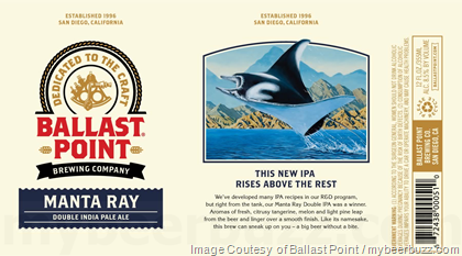 Ballast Point Adding Manta Ray DIPA Cans & Bottles
