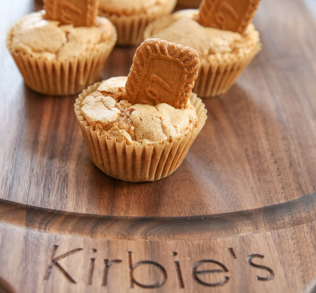 Cookie Butter Muffins on a customized cutting board
