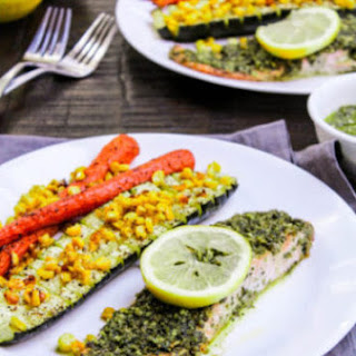 Pesto Salmon With Roasted Vegetables