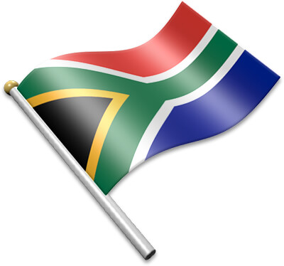 The South African flag on a flagpole clipart image