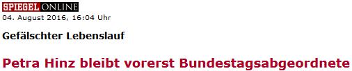 Petra Hinz bleibt vorerst Bundestagsabgeordnete