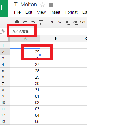 Need Google Sheets Cell/Date Format for DAY only (not month
