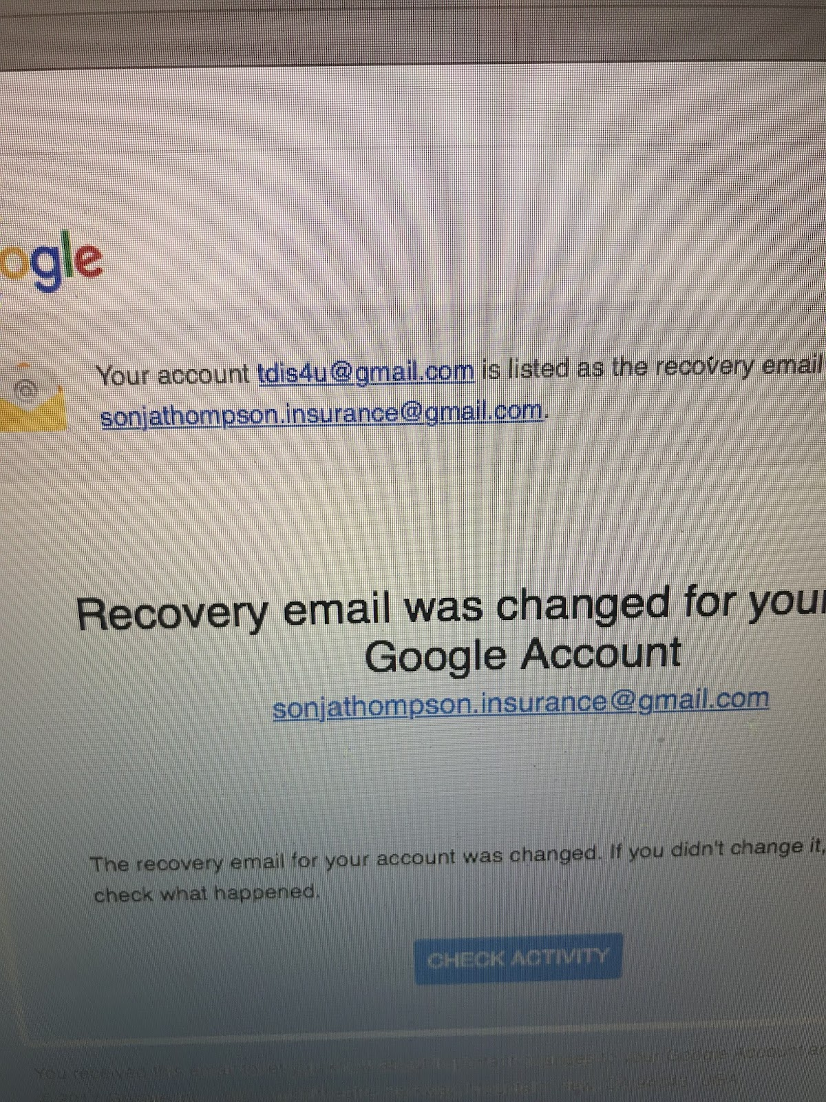 Gmail Account Hacked-Recovery Email/Phone Changed - Gmail Help