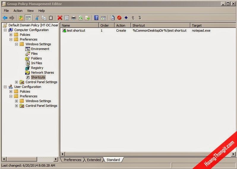 Tạo shortcut notepad trên màn hình desktop bằng GPO