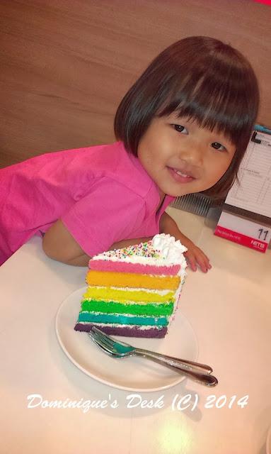 The slice of Rainbow Cake