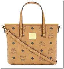 MCM Coated Canvas Zip Top Mini Shoulder Bag with Long Strap