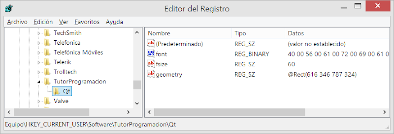 Qt guardar datos en registro de windows