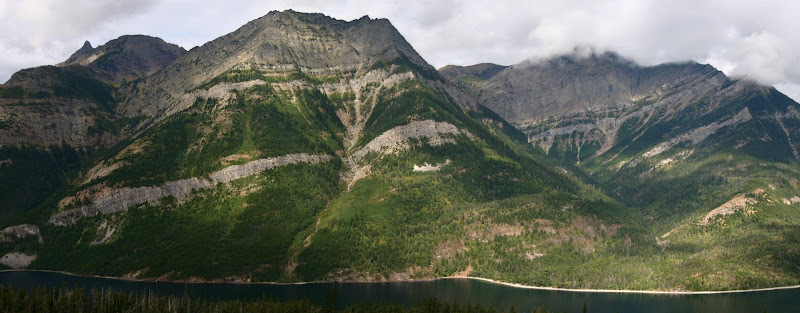 Mount Richards from across Upper Waterton Lake panorama