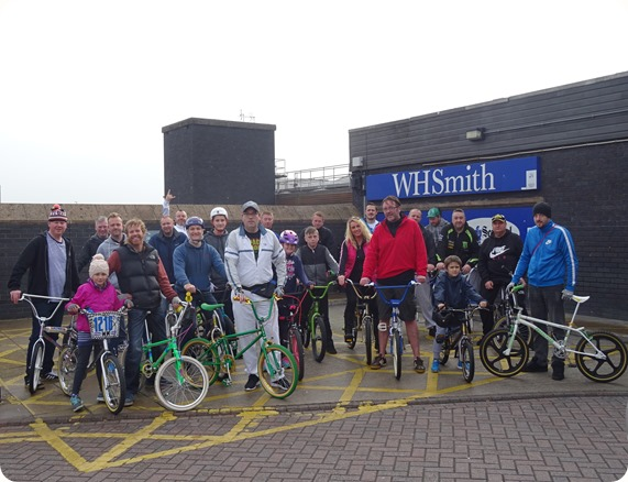Old school BMX bike fans gathered at Crewe railway  station