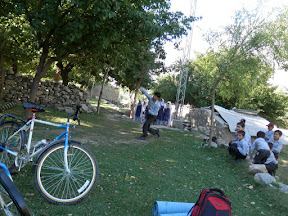 Playing cricket in appricot orchard, Jutal