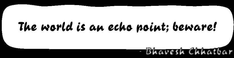 The world is an echo point; beware! - Bhavesh Chhatbar