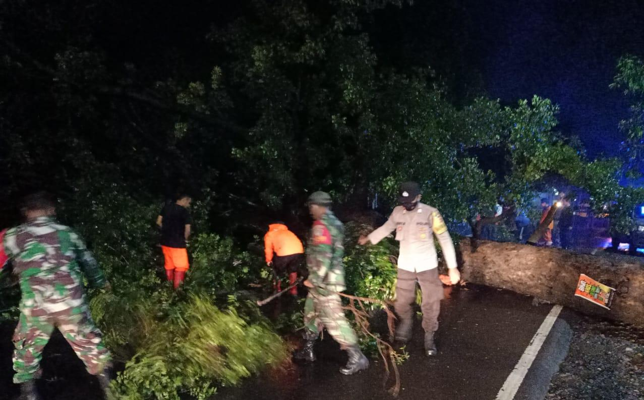Tanggap Bencana, Polres Majalengka Polda Jabar Bersama TNI dan Warga Evakuasi Pohon Tumbang