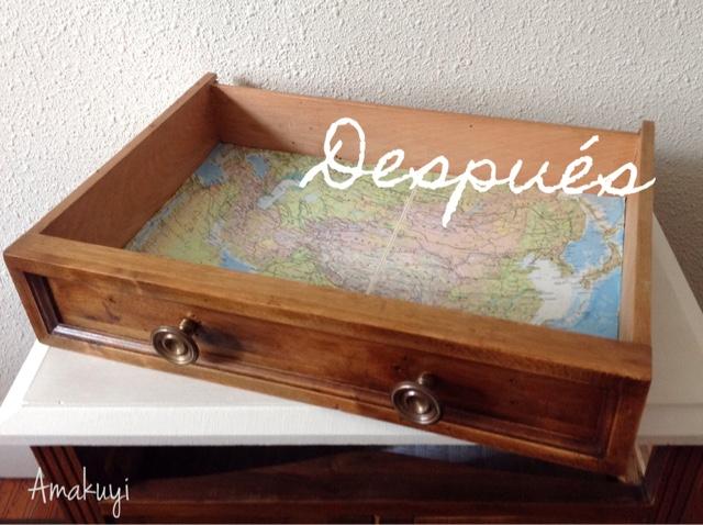 Transformación-mueble-viejo-restaurado-reciclaje-cajón-mapas