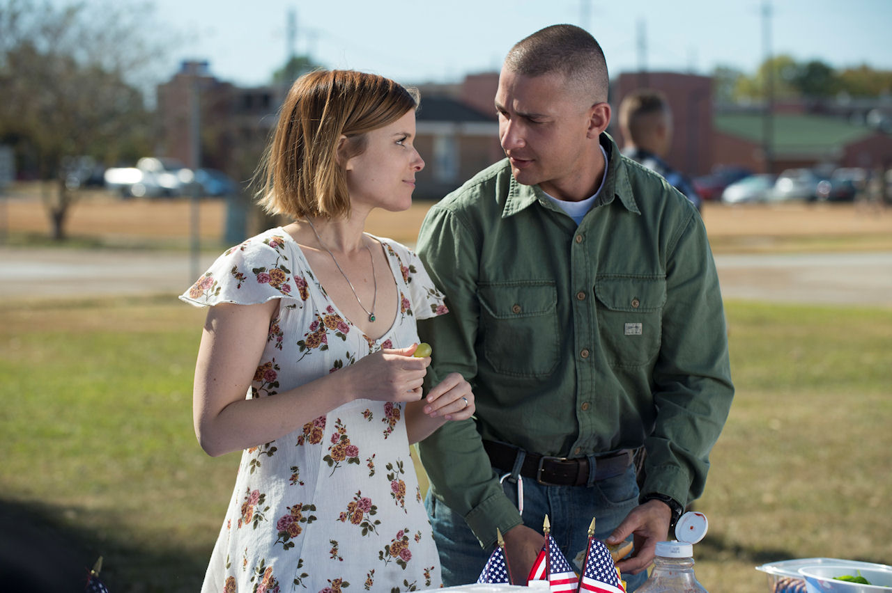 Gabriel Drummer (Shia LaBeouf) and Natalie Drummer (Kate Mara) in MAN DOWN. (Photo courtesy of Lionsgate Premiere).