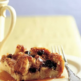 Healthy Irish Bread Pudding with Caramel-Whiskey Sauce