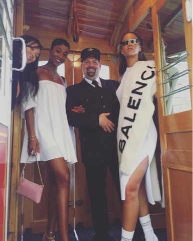 Rihanna in Vetements Sock Boots and Balenciaga