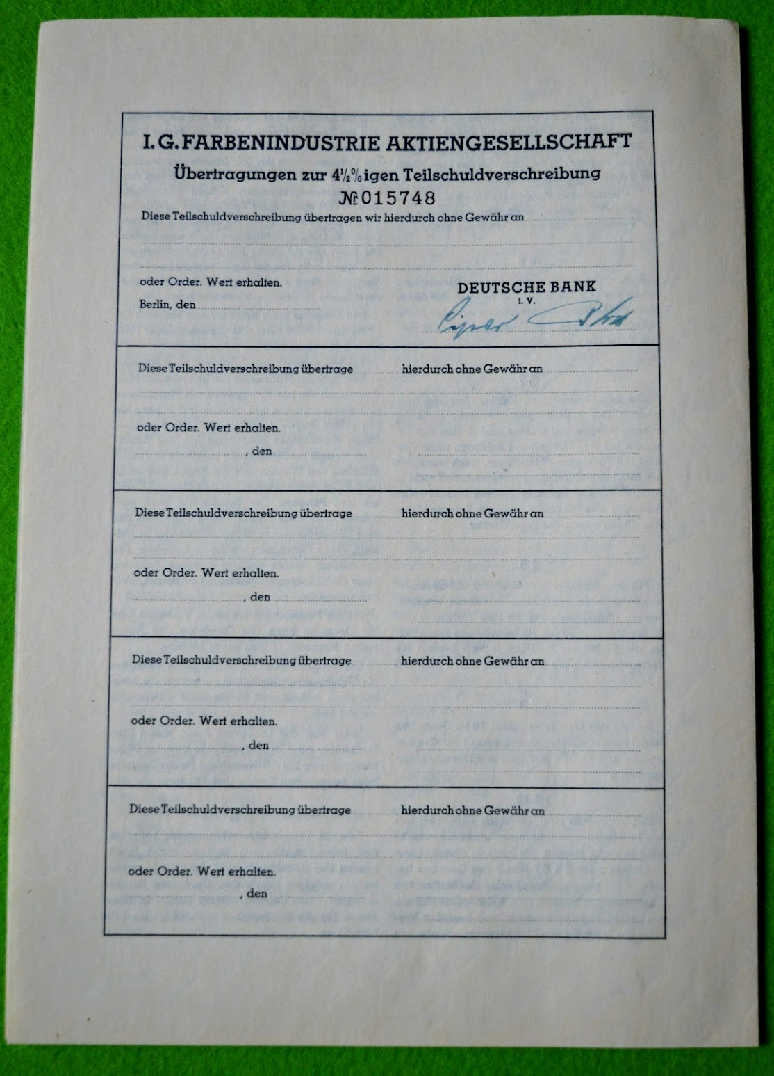 I.G. Farben Aktie 1939