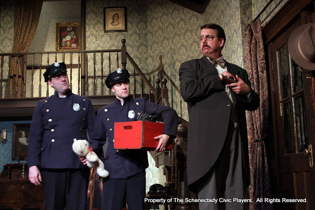 Richard Messina, Michael Rzepka and Robert Hegeman in ARSENIC AND OLD LACE (R) - May 2011.  Property of The Schenectady Civic Players Theater Archive.
