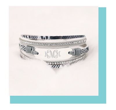 Personalized Snakeskin Bracelet Stack from Marleylilly.com
