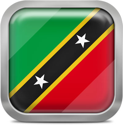 Saint Kitts and Nevis square flag with metallic frame