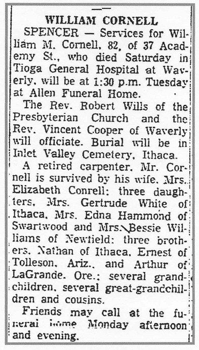 Cornell William 1962 obituary