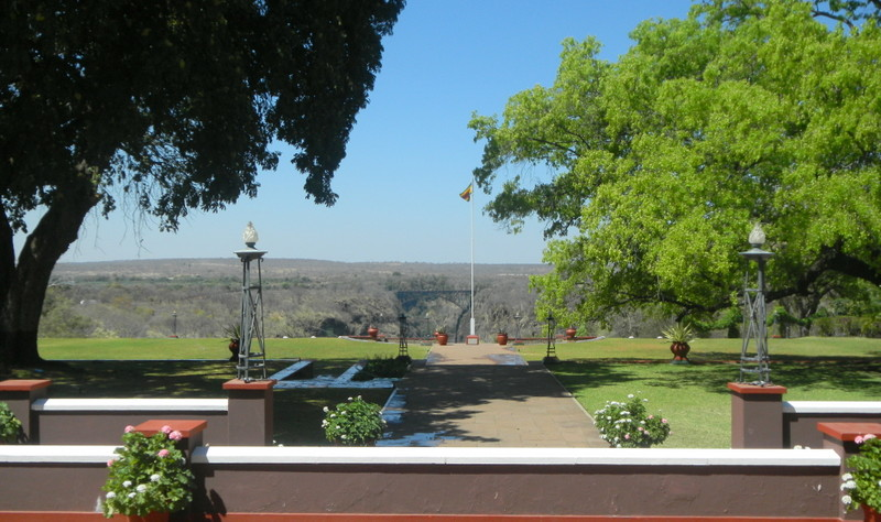 View of the bridge over the Zambezi from Vic Falls Hotel