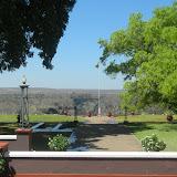 View of the bridge over the Zambezi from Vic Falls Hotel