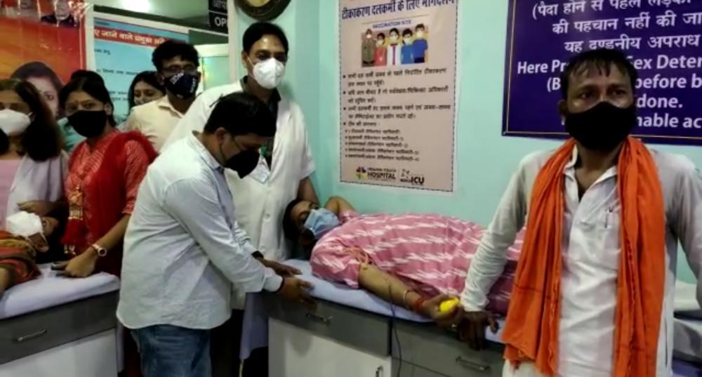 भाजपा महिला मोर्चा के द्वारा सेवा सप्ताह के दौरान आयोजित किया गया रक्तदान शिविर
