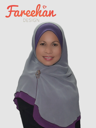 shawl halfmoon double layer plain kelabu purple fareehan