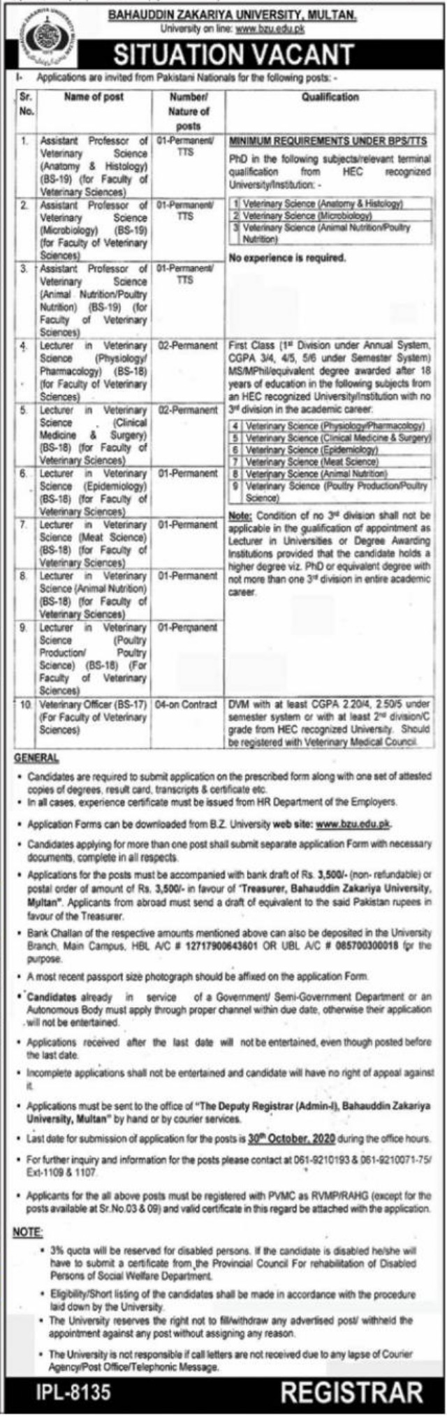 Bahauddin Zakariya University BZU Multan Jobs September 2020