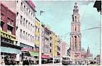 Groningen.  Grote markt en Martini toren en achter de trolley bus  Amsterdamsche Bank.   Gelopen gestempeld in 1958.