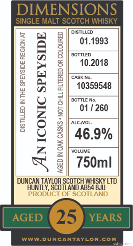 Duncan Taylor 25-Year Dimensions Single Malt Speyside Scotch